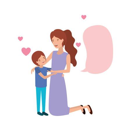 woman with son and speech bubble avatar character vector illustration design Vektoros illusztráció