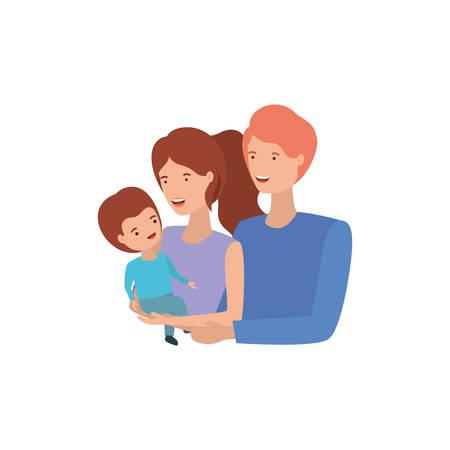 Paar Eltern mit Sohn Avatar Charakter Vector Illustration Design