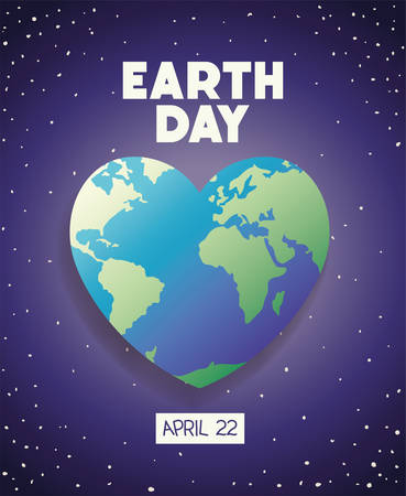 world planet earth heart day celebration vector illustration design