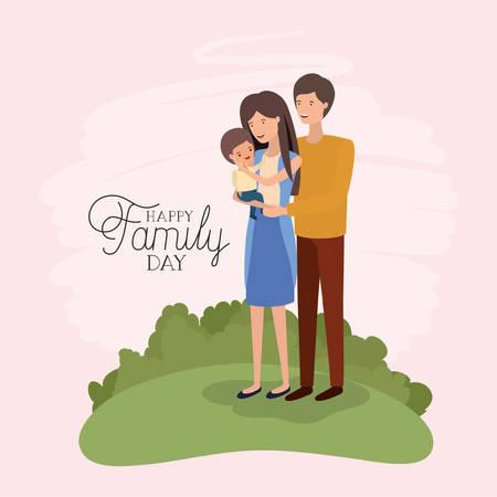 carte de jour de famille avec les parents et le fils dans la conception d'illustration vectorielle sur le terrain Vecteurs