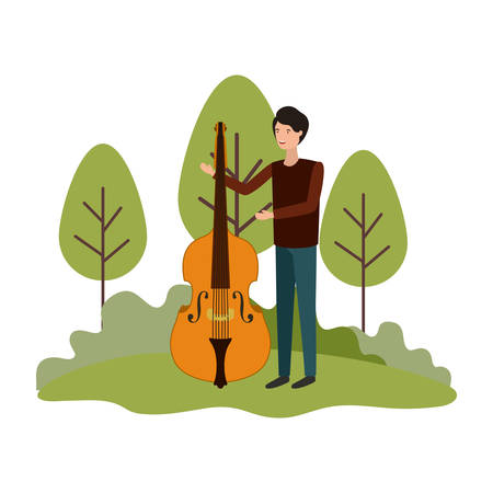 man with violin in landscape avatar character vector illustration design