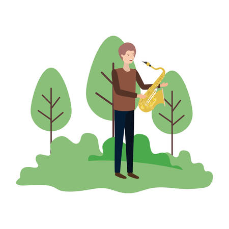 man with saxophone in landscape avatar character vector illustration design