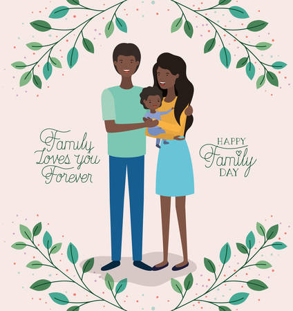 family day card with black parents and son leafs crown vector illustration design