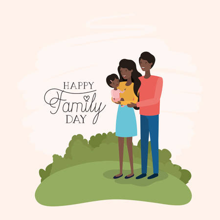 family day card with black parents and daughter in the field vector illustration design Banque d'images - 123789593