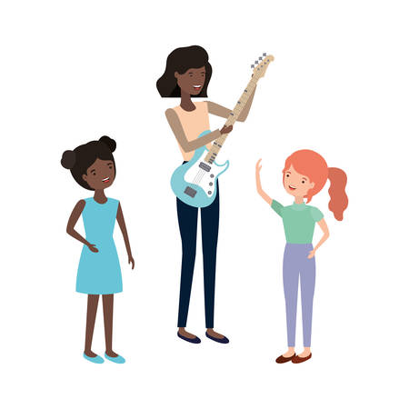 woman with children and electric guitar character vector illustration design