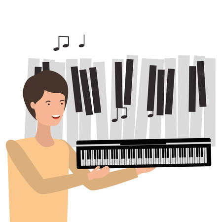 pattern of man with piano keyboard character vector illustration design