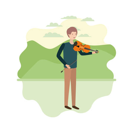 man with violin in landscape avatar character vector illustration design Ilustrace