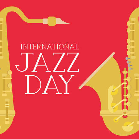 jazz day poster with saxophone vector illustration design