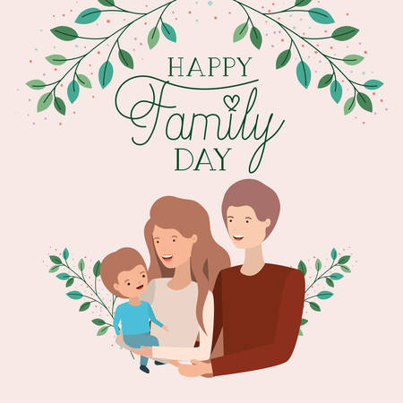 family day card with parents and son leafs crown vector illustration design Banque d'images - 123789624