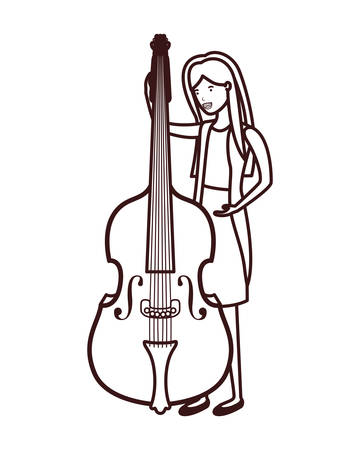 young woman with violin character vector illustration design