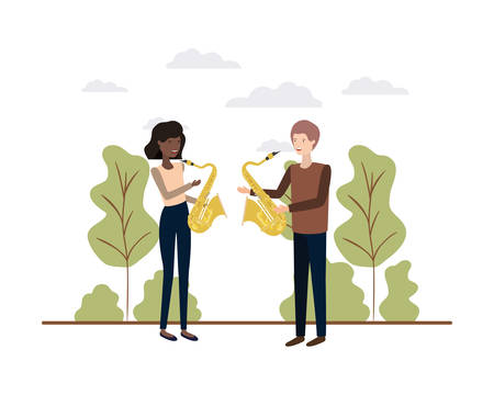 couple with musical instruments in landscape vector illustration design Illusztráció