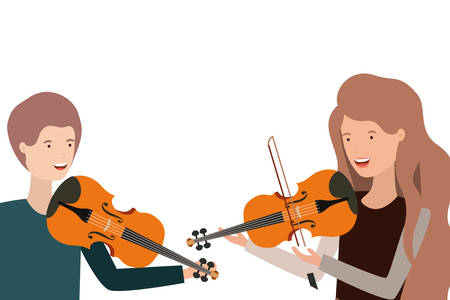 pattern of couple with musical instruments vector illustration design