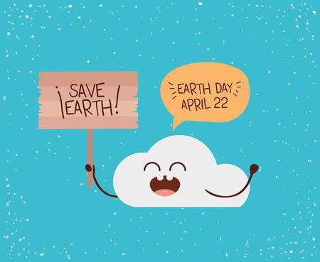 Carácter de nube con bocadillo y etiqueta ilustración de vector de celebración del día de la tierra