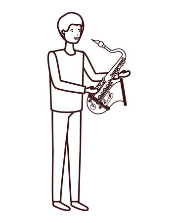 young man with saxophone character vector illustration design