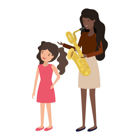 woman with daughter and saxophone avatar character vector illustration design
