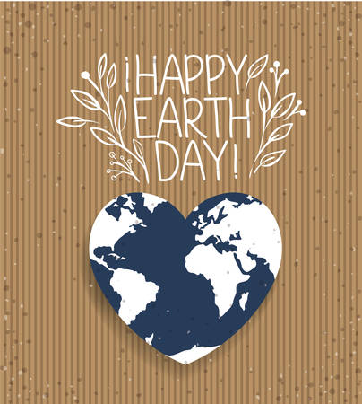 earth with shape heart day celebration vector illustration design