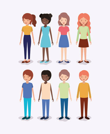 group of diversity kids characters vector illustration design