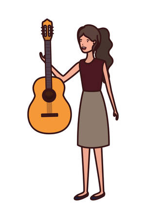 young woman with guitar character vector illustration design Illustration