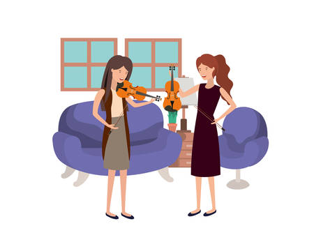 women with musical instruments in living room vector illustration design