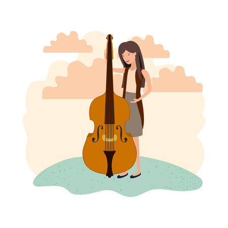 woman with violin in landscape avatar character vector illustration design