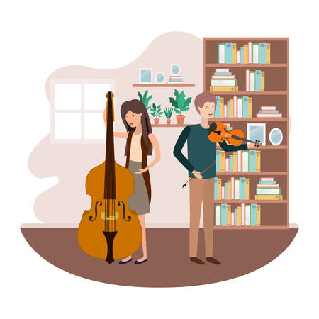 couple with musical instruments in living room vector illustration design