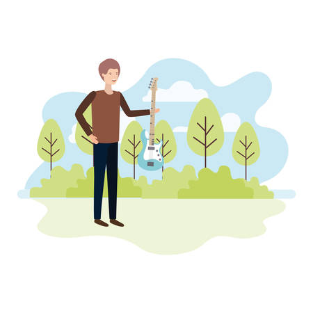 man with electric guitar in landscape character vector illustration design