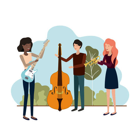 group of people with musical instruments in landscape vector illustration design Vectores