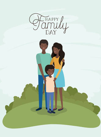 family day card with black parents and son in the field vector illustration design Banque d'images - 120502156