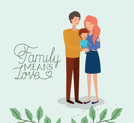family day card with parents and son leafs crown vector illustration design Banque d'images - 123789732