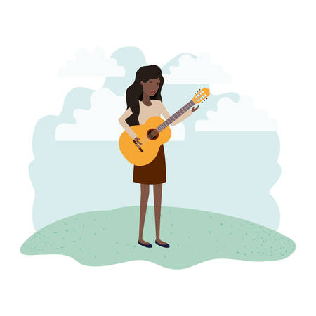 woman with guitar in landscape avatar character vector illustration design