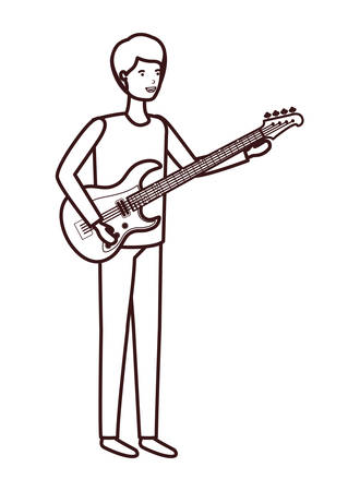 young man with electric guitar character vector illustration design