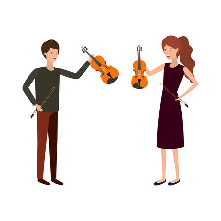 couple with musical instruments avatar character vector illustration design