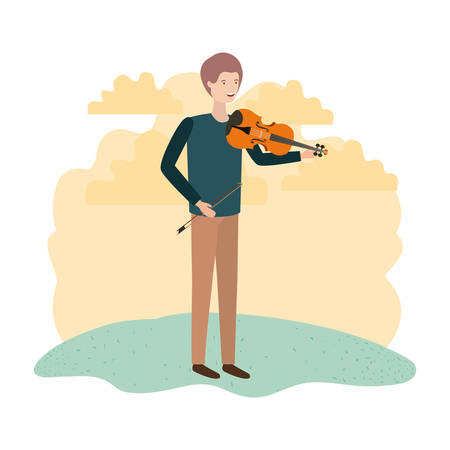 man with violin in landscape avatar character vector illustration design Vectores