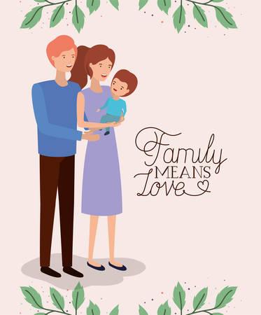 Carte de fête de la famille avec les parents et le fils leafs couronne conception d'illustration vectorielle Vecteurs
