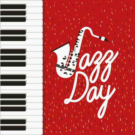 jazz day poster with piano keyboard and saxophone vector illustration design 向量圖像