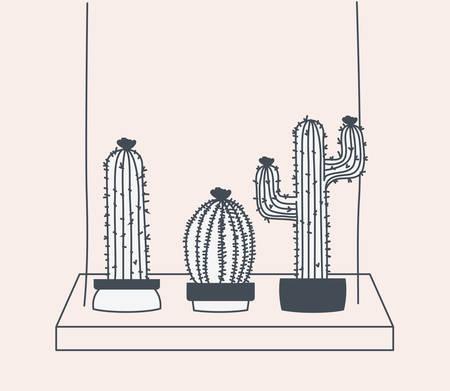 cactus houseplant in swing vector illustration design