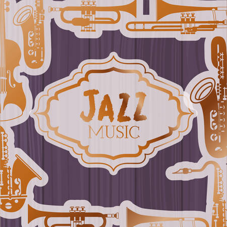 jazz day frame with instruments and wooden background vector illustration design 向量圖像