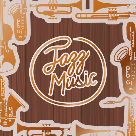 jazz day poste with instruments and wooden backgroundvector illustration design 向量圖像