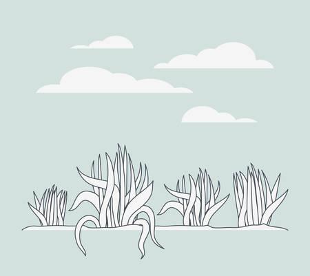 marine plants ecosystem scene vector illustration design Stock Vector - 123746289