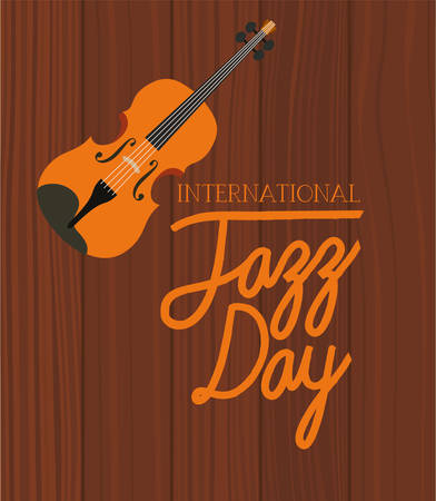 jazz day poster with fiddles vector illustration design