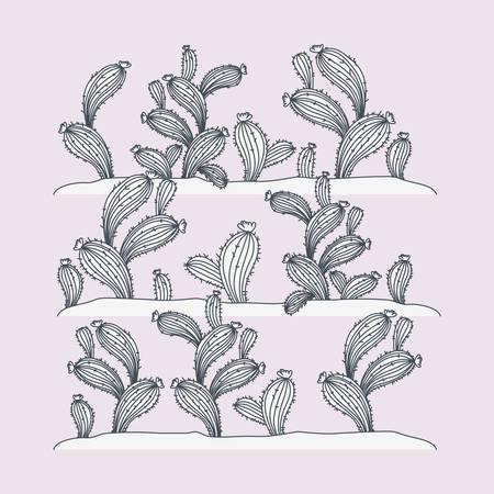 Conception d'illustration vectorielle de scène de plantes marines d'algues