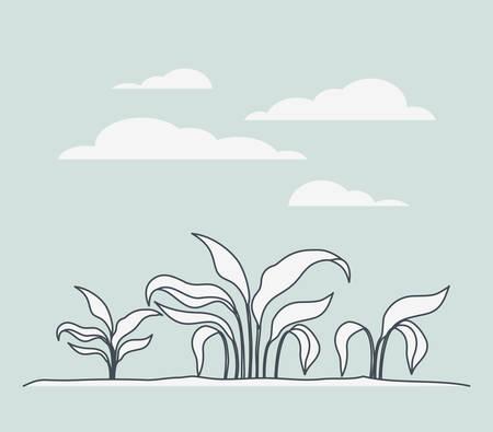 marine plants ecosystem scene vector illustration design