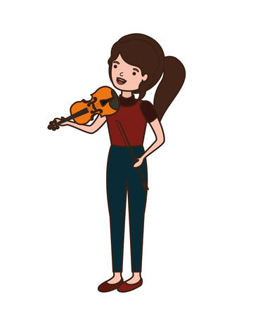 young woman with violin character vector illustration design Vectores