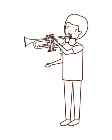 young man with trumpet character vector illustration design