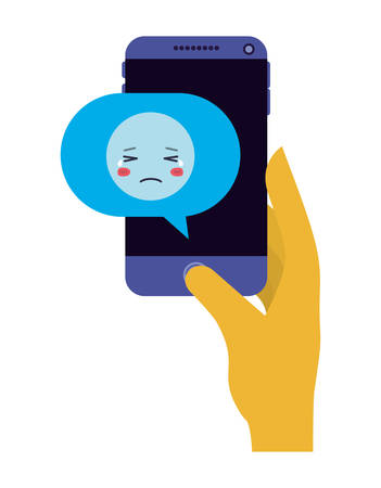 smartphone sending sad emoji kawaii character vector illustration design