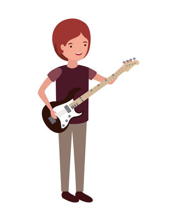 young man with electric guitar character vector illustration design Imagens - 121080760