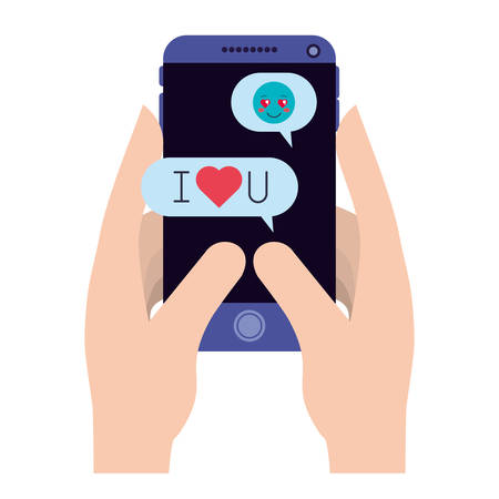hands using smartphone and social media icons vector illustration