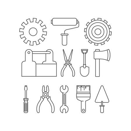 Outils de construction définir des éléments de conception d'illustration vectorielle