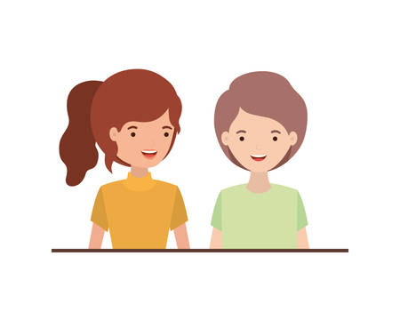 young couple avatar character vector illustration design