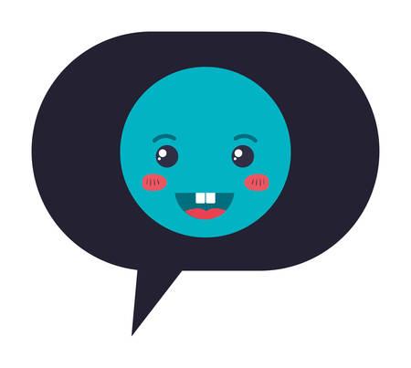 speech bubble with happy emoji kawaii character vector illustration design